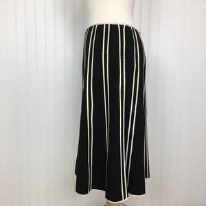 INC midi skirt black cream stretch work school 14W